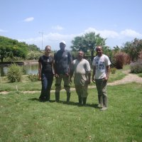 They look after the garden in the Ecopark: Annika, Ignacio, Santil and Basilio